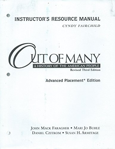 9780130987181: Instructor's Resource Manual Out of Many a History of the American People, Revised Third Edition,