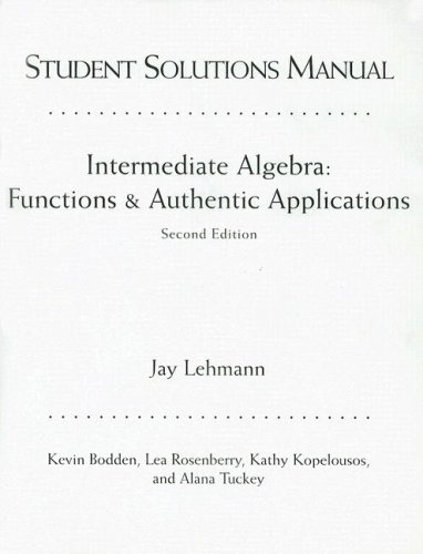 9780131010635: Intermediate Algebra: Functions and Authentic Applications