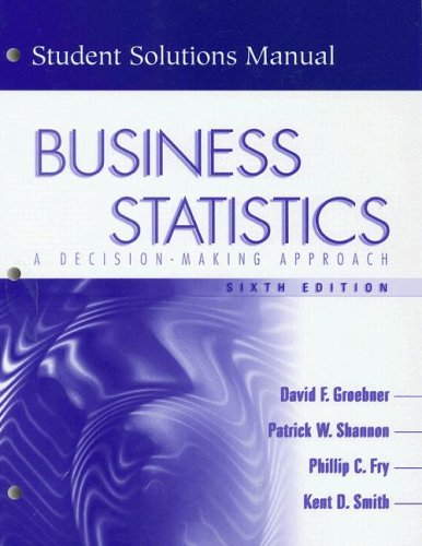9780131010949: Business Statistics: A decision-making Approach (Student Solutions Manual, 6th Edition)