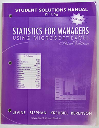 "Student Solutions Manual for ""Statistics for Managers Using Microsoft Excel (3rd Edition)&quot..."
