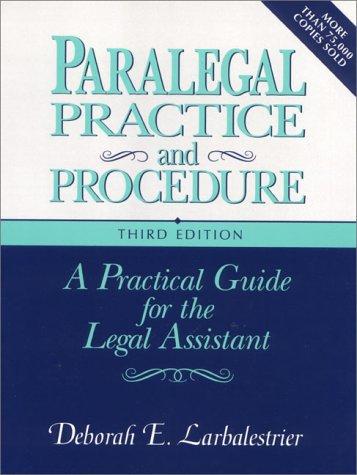 9780131085725: Paralegal Practice and Procedure