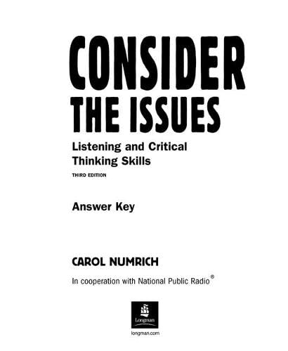 9780131115941: Consider the Issues: Answer Key