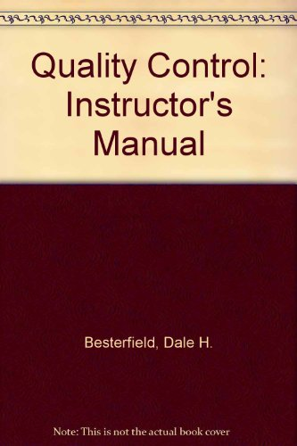 9780131131569: Quality Control: Instructor's Manual