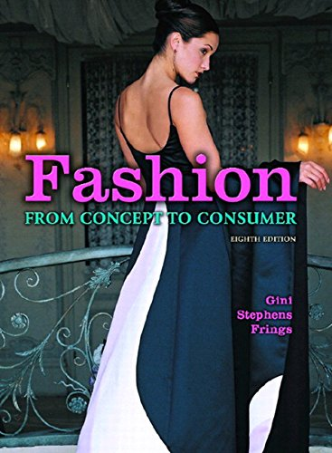 Fashion 9780131173385 Fashion: From Concept to Consumer tells the entire story of how the fashion business works in sequential order from concept to consumer. It includes the processes involved with producing raw materials, apparel, and accessories, as well as the retail businesses that sell fashion merchandise to the public. Each chapter contains a career focus, chapter objectives, review questions, terminology, and projects to aid in reviewing the subject matter. Part One concentrates on fashion fundamentals; Part Two covers the development, production, and marketing of raw materials, including textiles, trimmings, leather, and fur; Part Three discusses international fashion centers and traces the fashion manufacturing process from design and merchandising development through production and marketing to retailers; Part Four covers retailing. A valuable tool for anyone who wants to know more about fashion and the fashion business, retail store buyers and merchandise managers, or merchandisers and designers working for apparel manufacturers.
