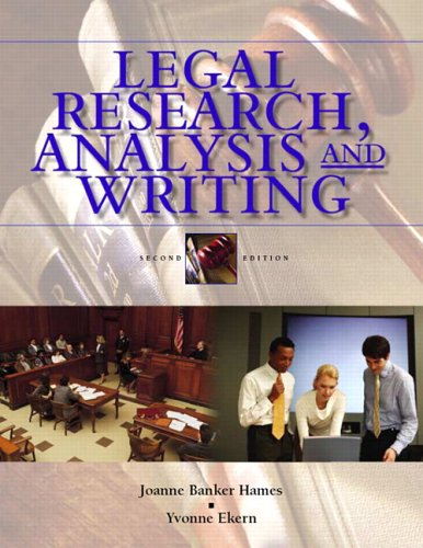 9780131188884: Legal Research, Analysis, and Writing: An Integrated Approach (2nd Edition)