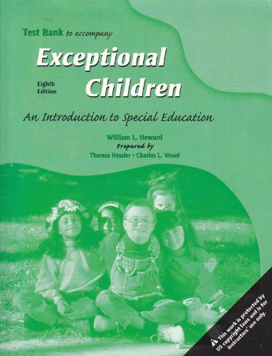 9780131191723: Test Bank to Accompany Exceptional Children; An Introduction to Special Education