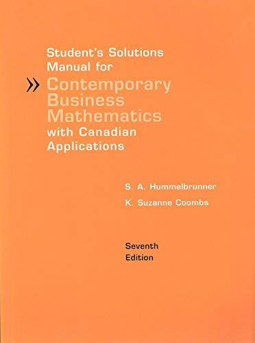 9780131201293: Student's Solutions Manual for Contemporary Business Mathematics