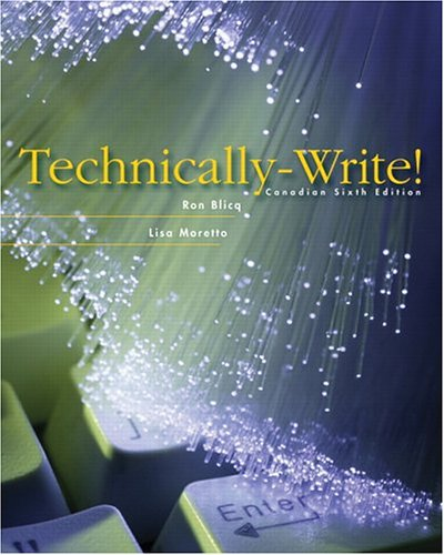 Technically Write !Sixth Canadian Edition: Blicq