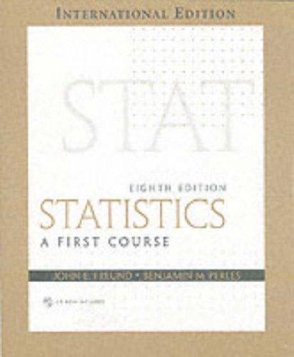 9780131212060: Statistics: A First Course: International Edition (Pie)