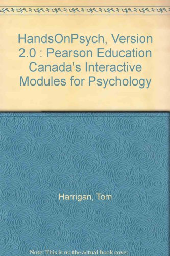 9780131217195: HandsOnPsych, Version 2.0 : Pearson Education Canada's Interactive Modules for Psychology