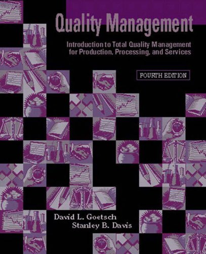9780131224612: Quality Management: Introduction to Total Quality Management for Production, Processing, and Services: International Edition