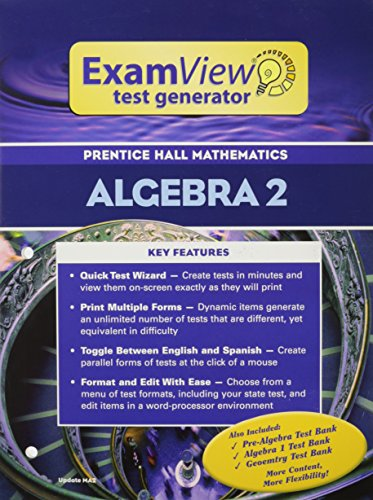 9780131255289: PRENTICE HALL MATH ALGEBRA 2 EXAMVIEW TEST GENERATOR BOOKLET WITH CD 2004C