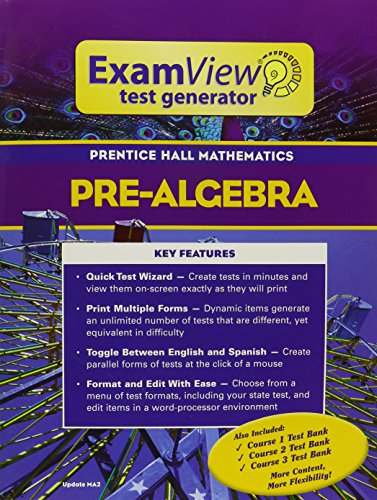 9780131255296: PRENTICE HALL MATH PRE-ALGEBRA EXAMVIEW TEST GENERATOR BOOKLET WITH CD  2004C