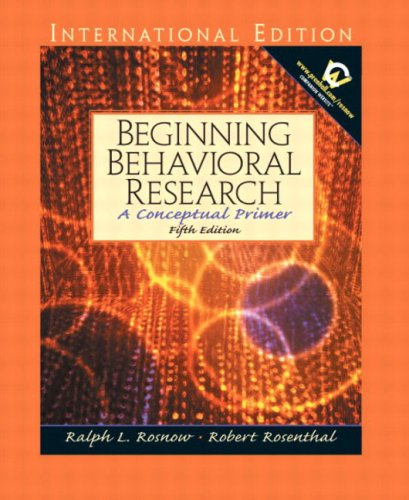 9780131278356: Beginning Behavioral Research: A Conceptual Primer: International Edition (Pie)