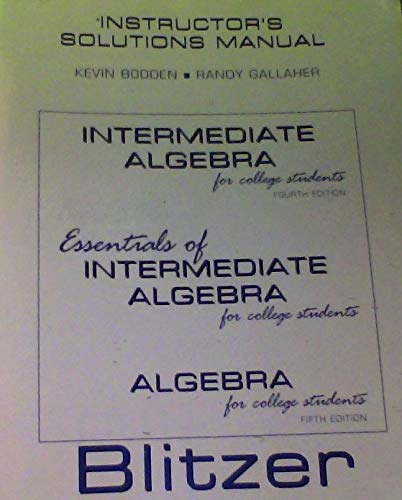 9780131330566: Intermediate Algebra for Collage Students (INSTRUCTORS SOLUTIONS MANUAL)