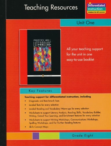 9780131341975: PRENTICE HALL LITERATURE PENGUIN EDITION TEACHING RESOURCES UNIT 1: FICTION AND NONFICTION GRADE 8 2007C