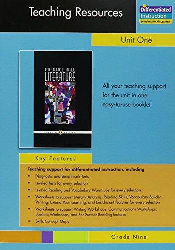 9780131342019: PRENTICE HALL LITERATURE PENGUIN EDITION TEACHING RESOURCES UNIT 1:     FICTION AND NONFICTION GRADE 9 2007C