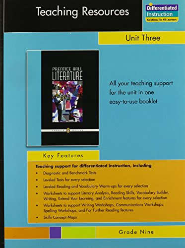 9780131342033: PRENTICE HALL LITERATURE PENGUIN EDITION TEACHING RESOURCES UNIT 3:     ESSAYS AND ARTICLES GRADE 9 2007C