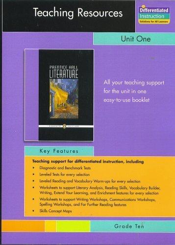 9780131342040: PRENTICE HALL LITERATURE PENGUIN EDITION TEACHING RESOURCES UNIT 1:     FICTION AND NONFICTION GRADE 10 2007C