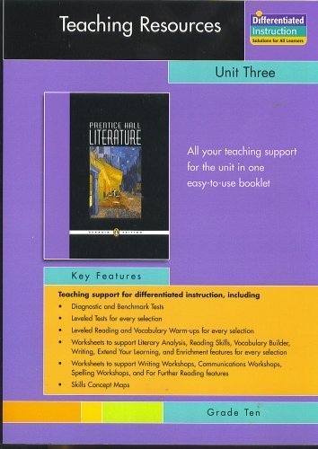 9780131342088: PRENTICE HALL LITERATURE PENGUIN EDITION TEACHING RESOURCES UNIT 3:     TYPES OF NONFICTION GRADE 10 2007C