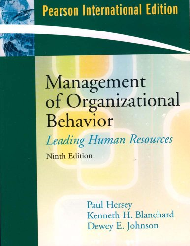 9780131354784: Management of Organizational Behavior: Leading Human Resources (Pearson International Edition)