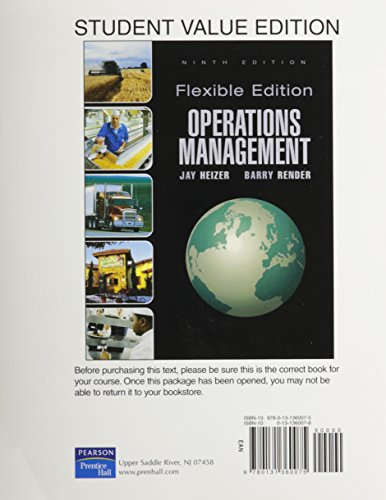 Operations Management ,Flex Version, Student Value Edition (9th Edition): Heizer, Jay; Render, ...