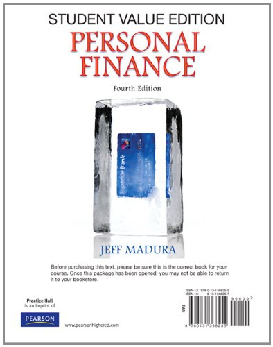 9780131368255: Personal Finance, Student Value Edition (4th Edition) (The Prentice Hall Series in Finance)