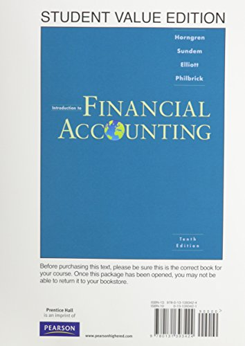 9780131393424: Introduction to Financial Accounting, Student Value Edition (10th Edition)