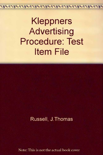 9780131404137: Kleppners Advertising Procedure