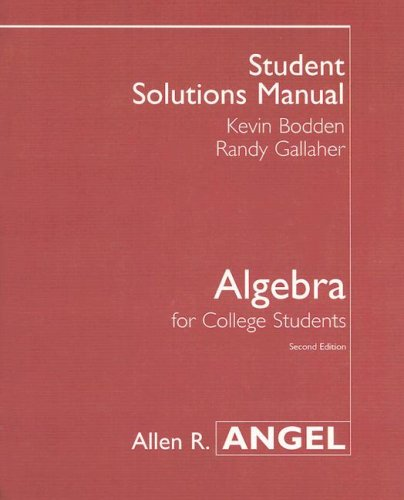 9780131417694: Algebra for College Students: Student Solutions Manual