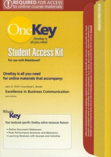 9780131419742: Excellence in Business Communication (OneKey)