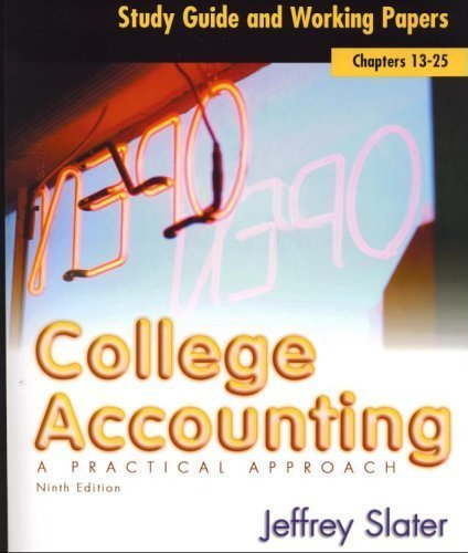9780131439658: College Accounting a Practical Approach: Study Guide and Working Papers (Chapters 13-25)