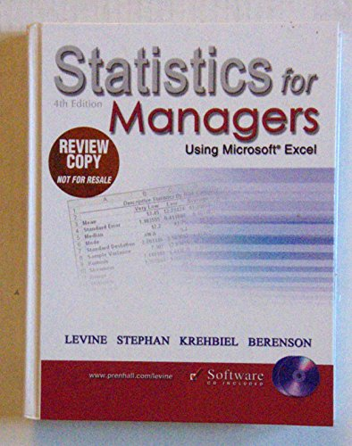Statistics for Managers Using Microsoft Excel 4th.ed.: Levine, David M. & David Stephan & Timothy C...