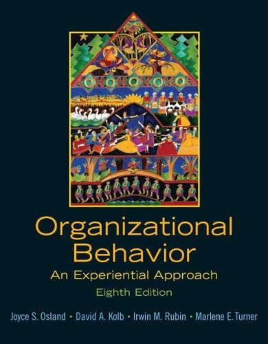 9780131441514: Organizational Behavior: An Experiential Approach: United States Edition