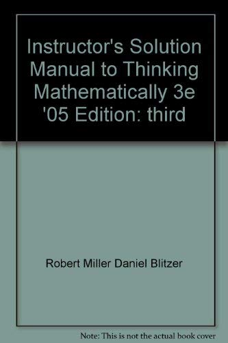 9780131443716: Instructor's Solution Manual (Thinking Mathematically)