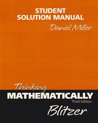9780131443723: Thinking Mathematically: Student's Solutions Manual