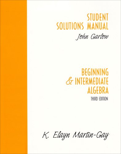 9780131445048: Student Solutions Manual: Beginning and Intermediate Algebra, Third Edition