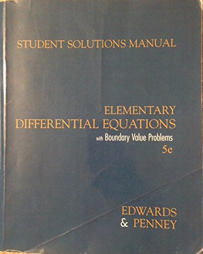 9780131457782: Elementary Differential Equations: Student Solutions Manual