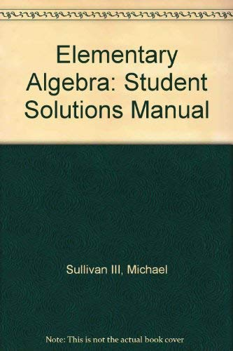 9780131468221: Student Solutions Manual for Elementary Algebra