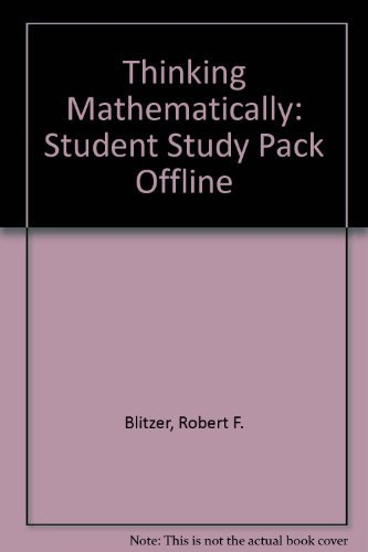 Your Student Study Pack: Thinking Mathematically 3rd Edition: Blitzer, Robert