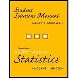 9780131499874: A Student Solutions Manual for First Course in Statistics
