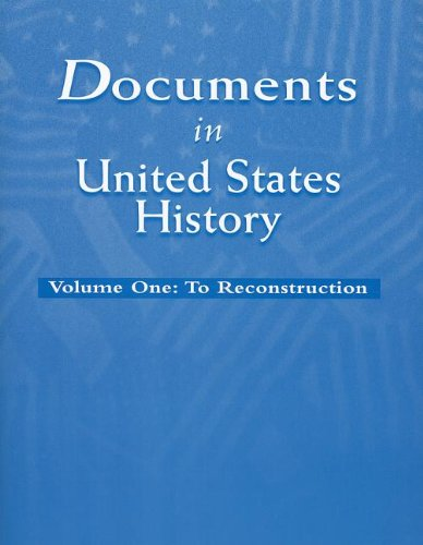 9780131502581: Documents in United States History, Volume I