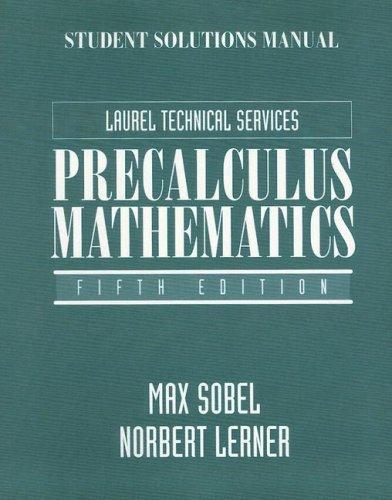 Precalculus Mathematics: Max Sobel; Norbert