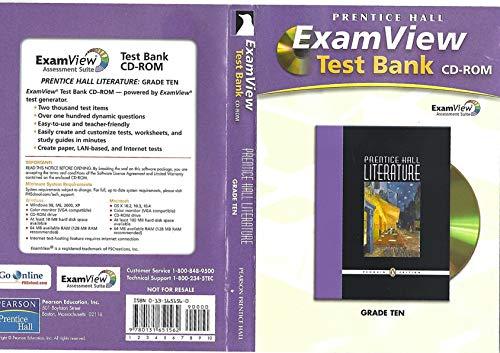 9780131651562: PRENTICE HALL LITERATURE EXAM VIEW TEST BANK CD ROM GRADE 10 2007C