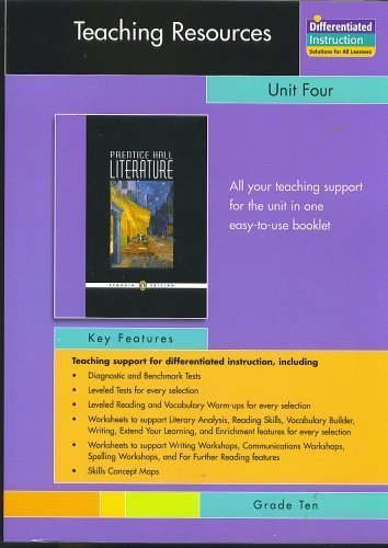 9780131653726: PRENTICE HALL LITERATURE PENGUIN EDITION TEACHERS RESOURCES UNIT 4 POETRY GRADE 10