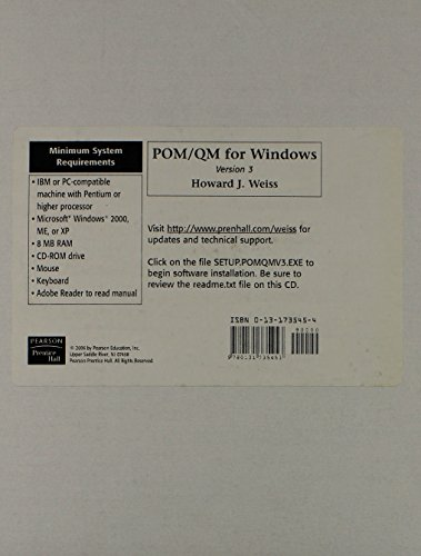 9780131735453: POM-QM for Windows v. 3