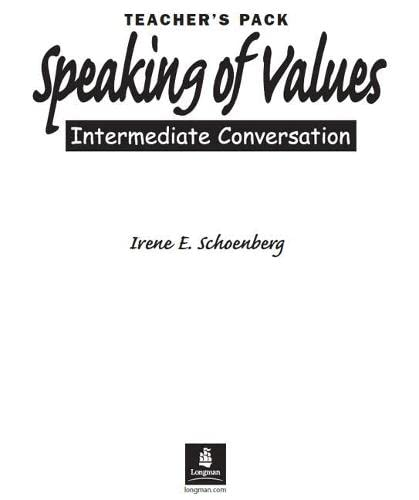 9780131844759: Speaking of Values Teacher Manual