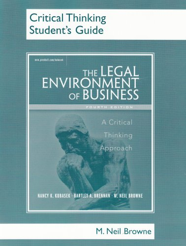 9780131851573: Critical Thinking Student's Guide for Legal Environment of Business: A Critical Thinking Approach