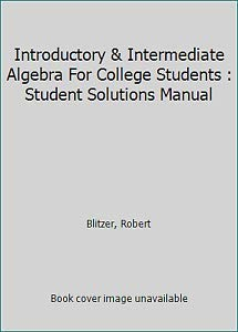 9780131857933: Introductory & Intermediate Algebra For College Students : Student Solutions Manual