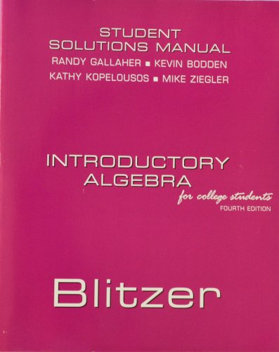 9780131857995: Introductory Algebra: Student Solutions Manual